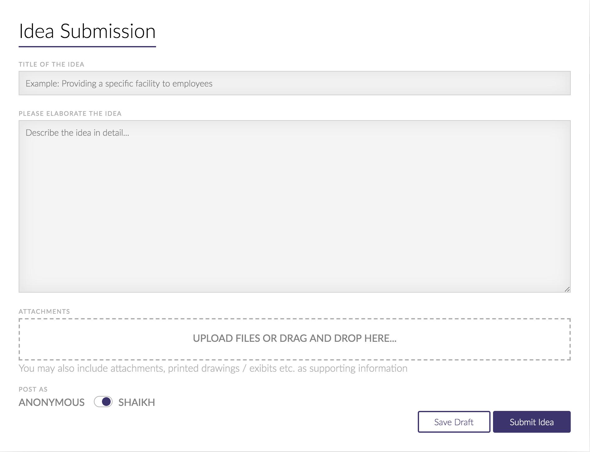 Idea Submit UI
