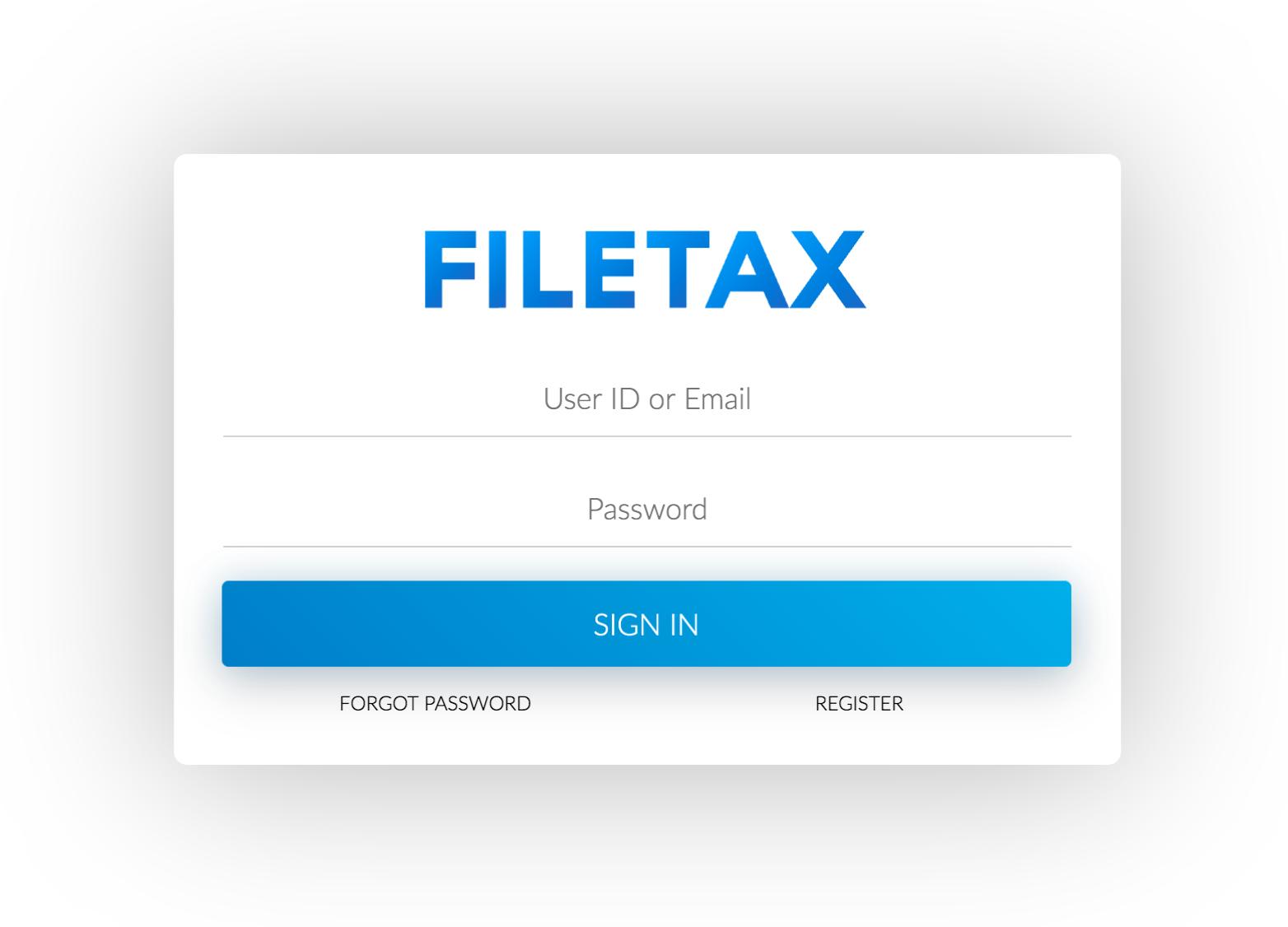 Filetax Login UI