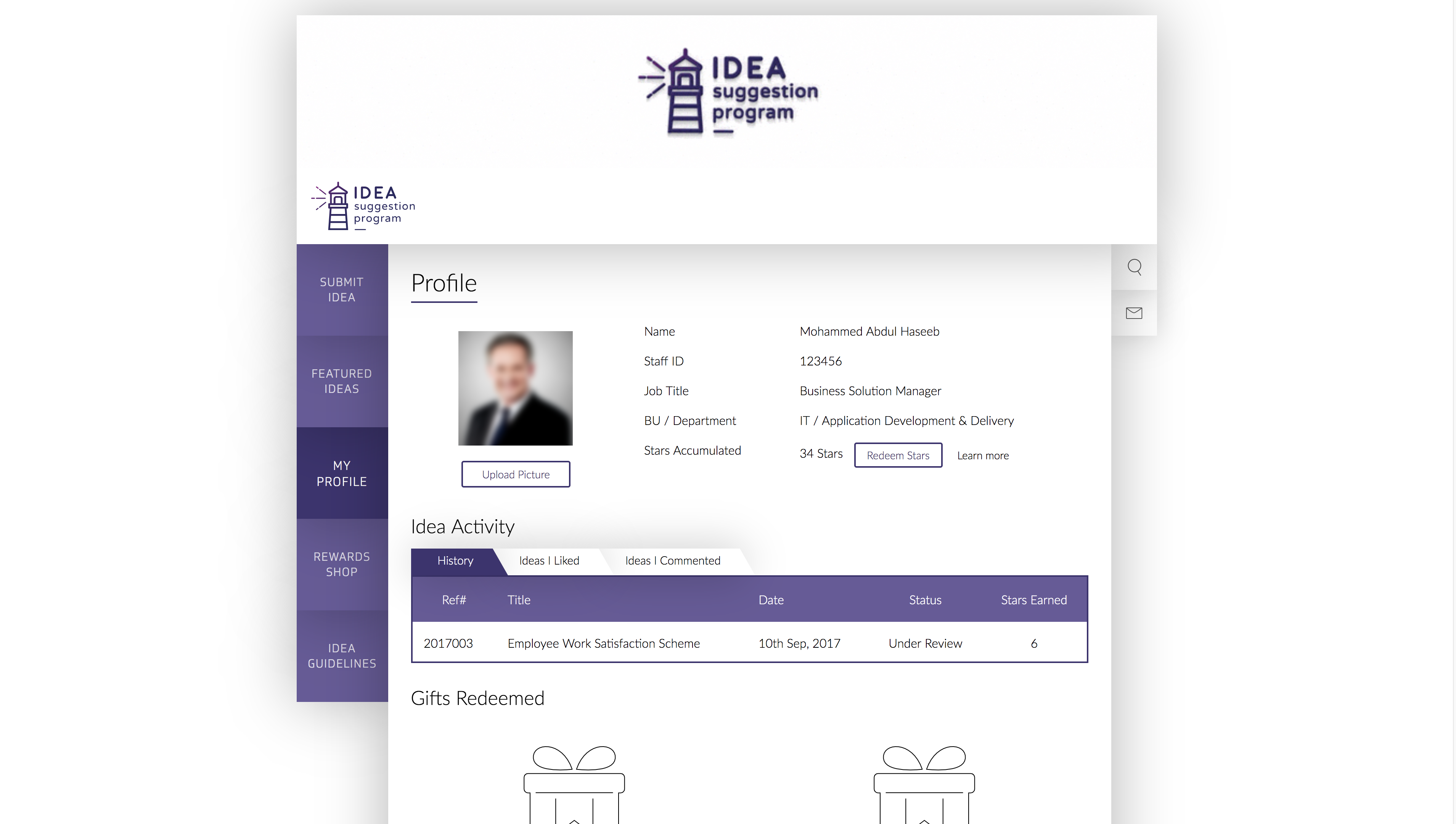 Idea System Profile UI