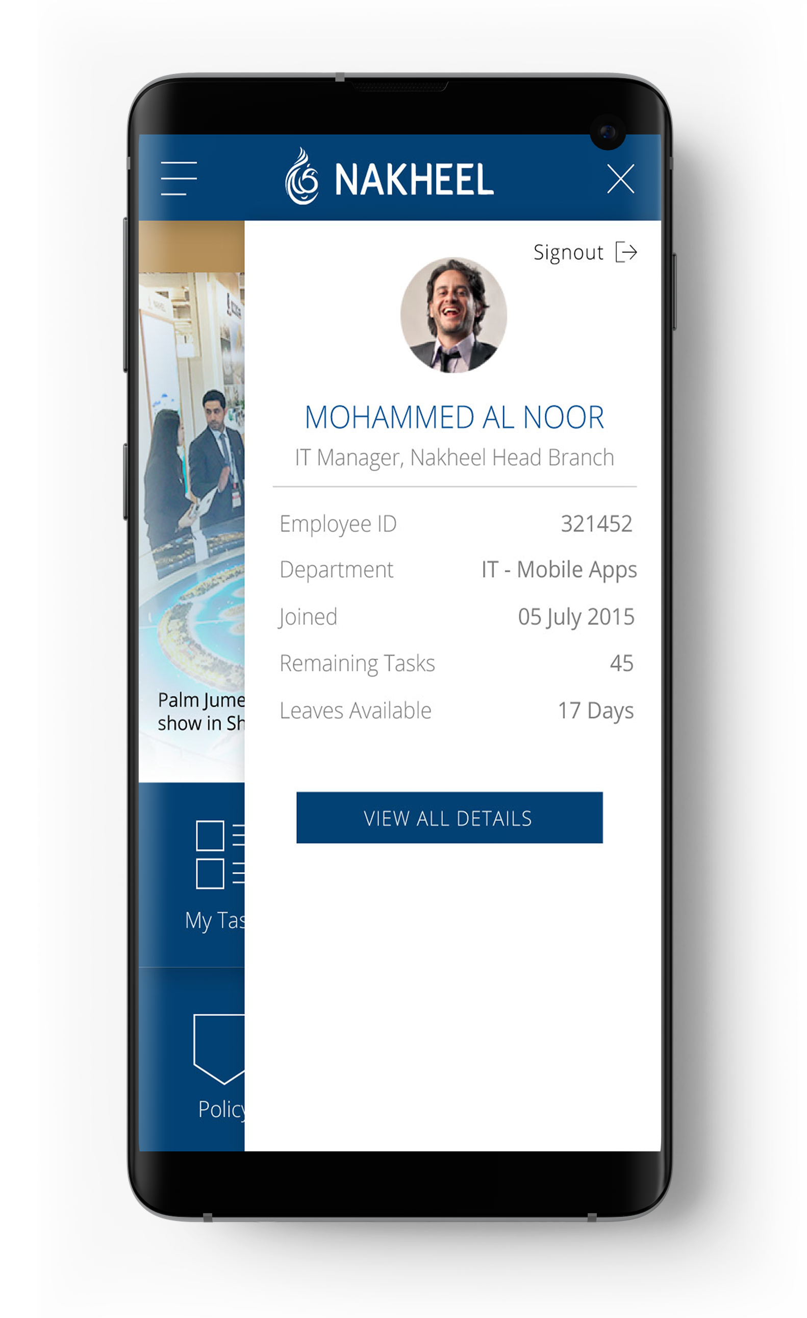 Nakheel User Menu